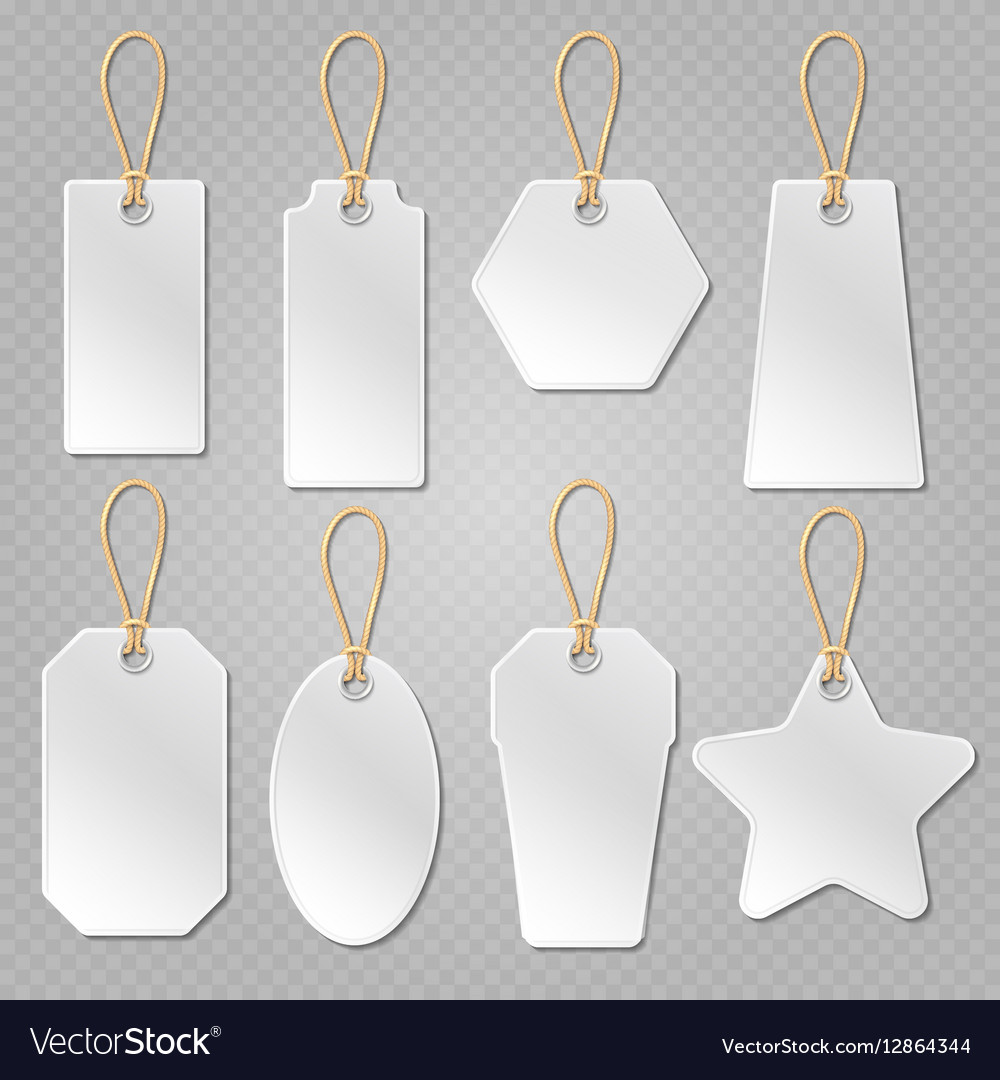 white blank price tags labels template royalty free vector
