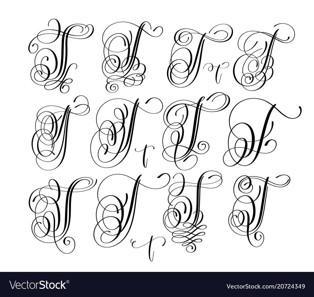 Calligraphy lettering script font t set hand