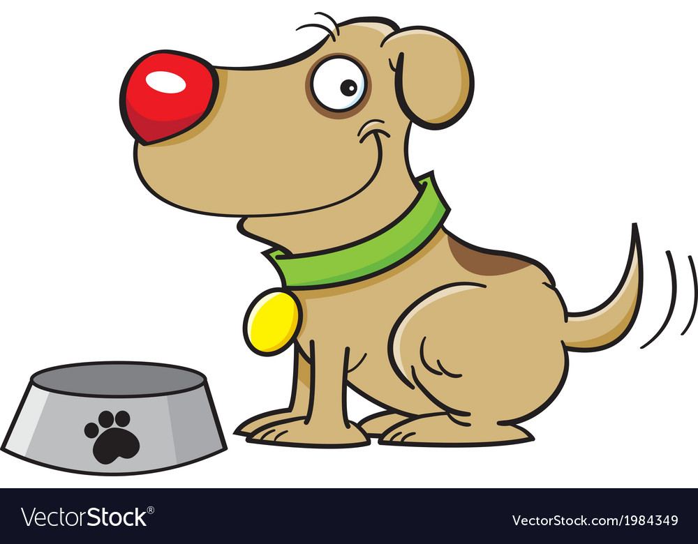 Cartoon Dog with a Dog Bowl