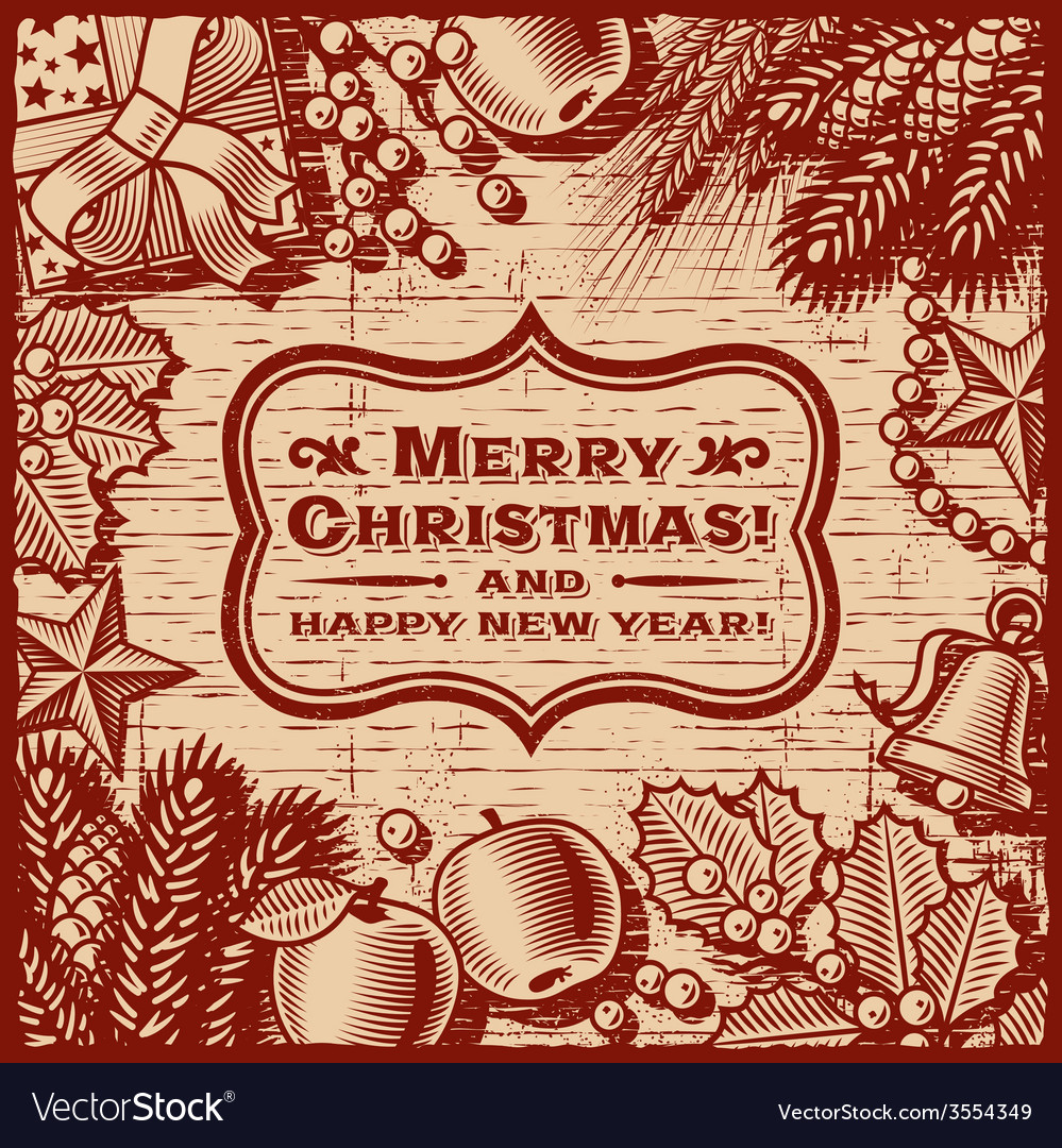 Christmas Retro Card Brown