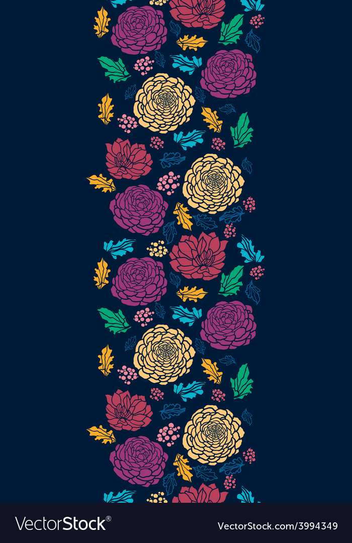 Colorful vibrant flowers on dark vertical seamless
