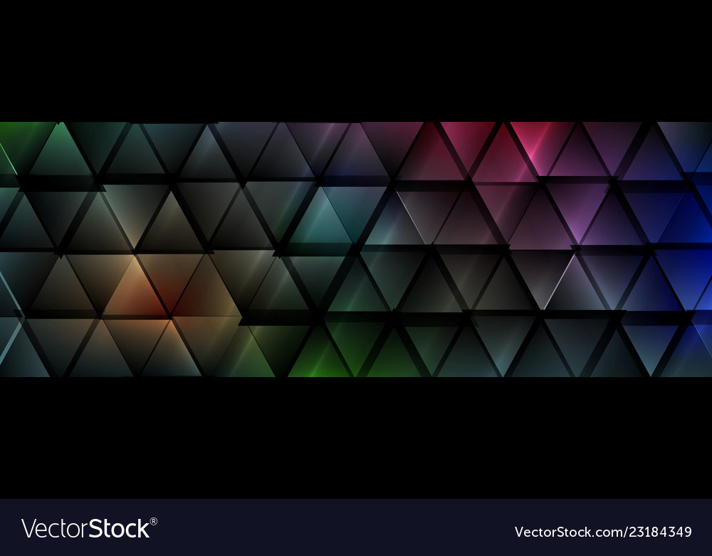 Dark colorful abstract glossy triangles tech
