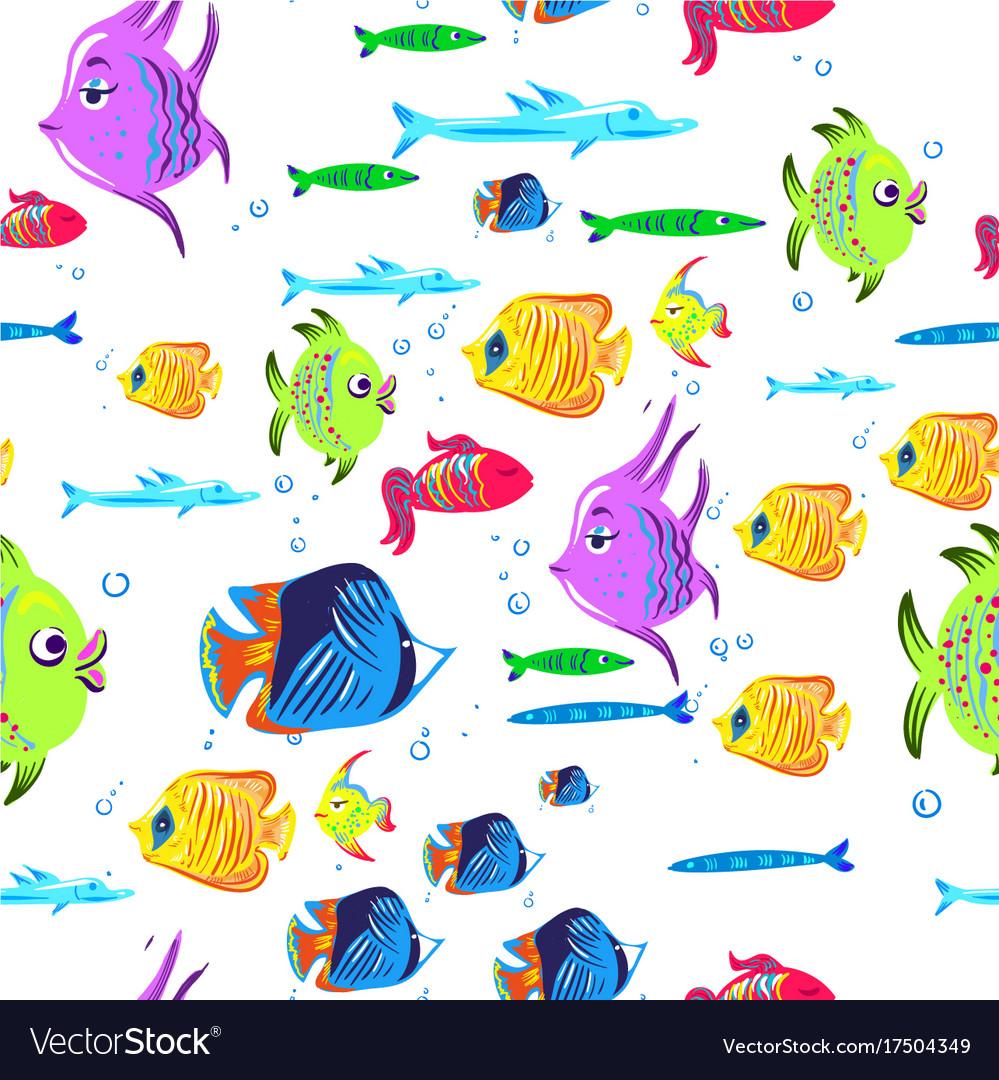 Fishes seamless pattern cute cartoon aquarium
