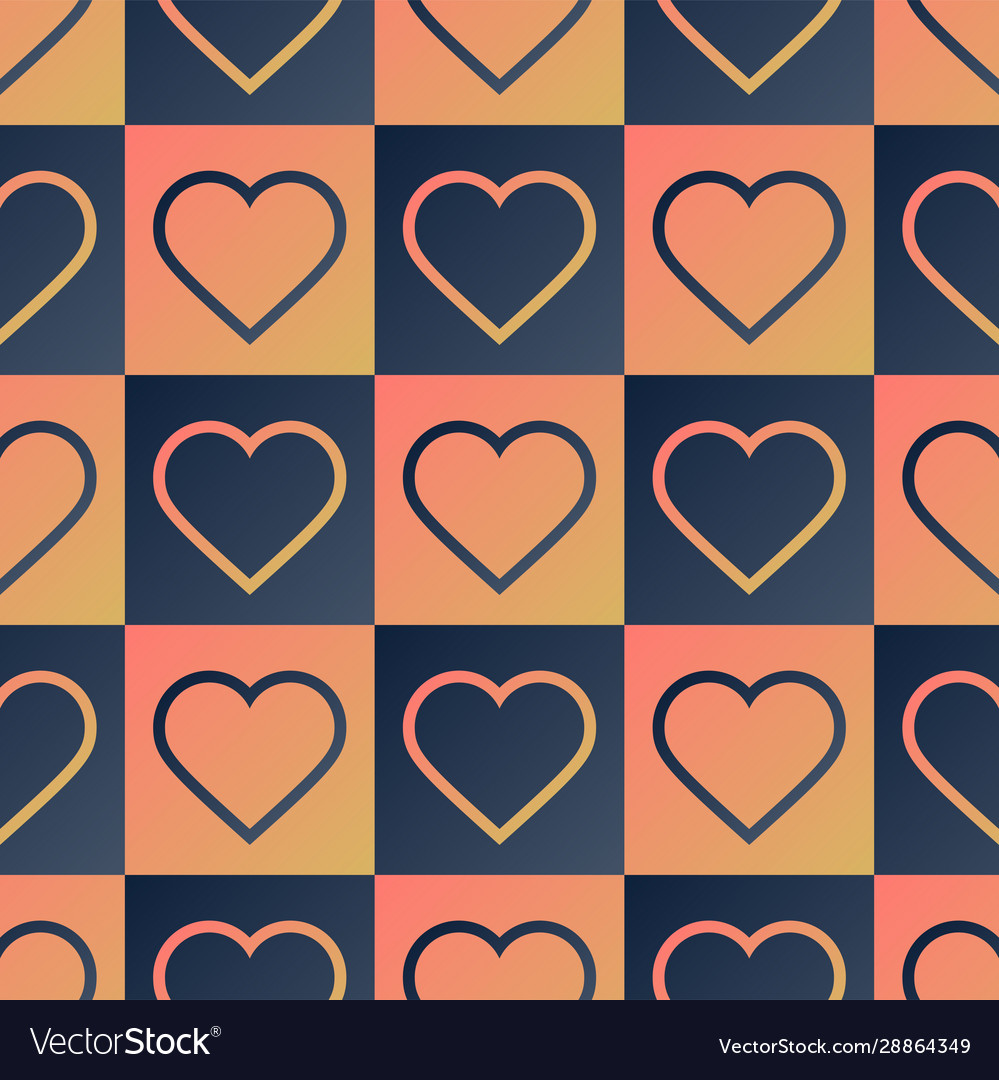 Heart seamless pattern with creative shape in