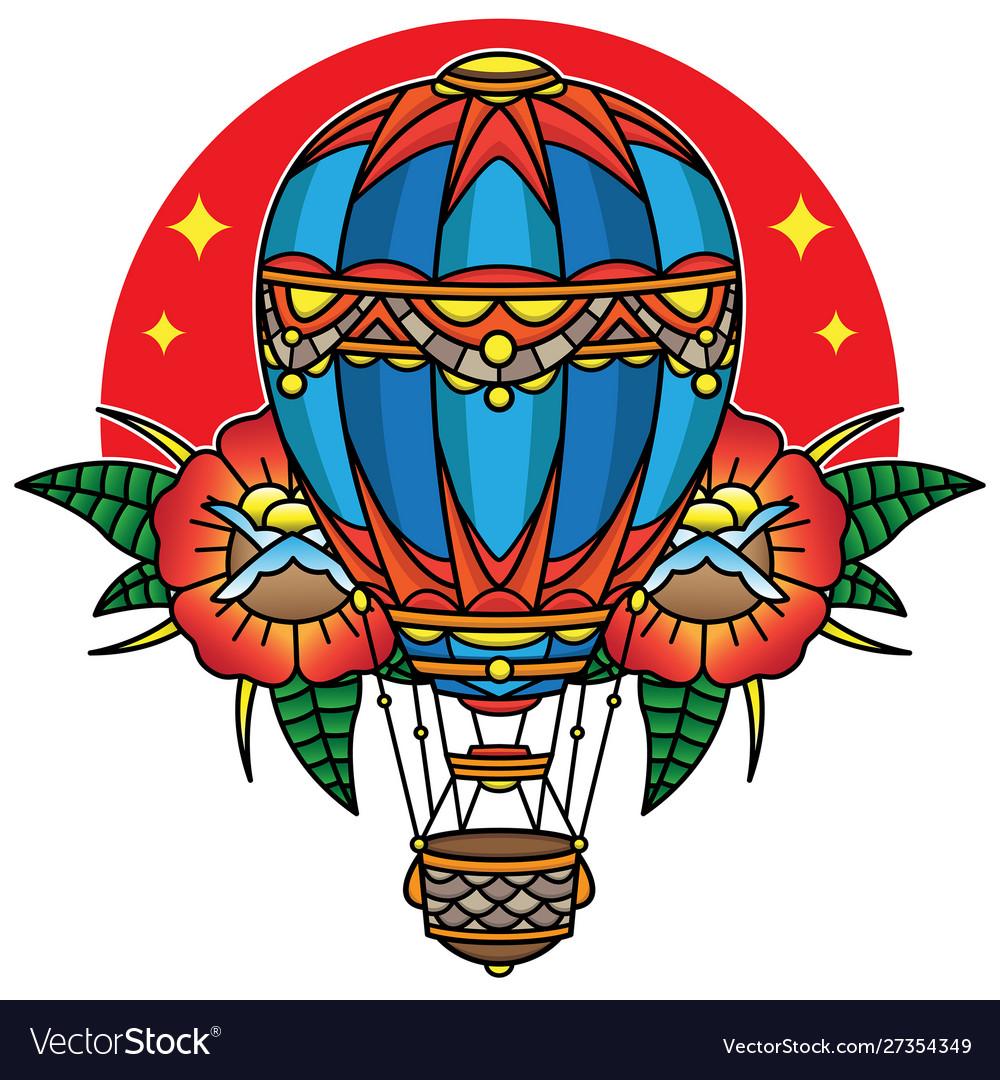 Hot air balloon traditional tattoo