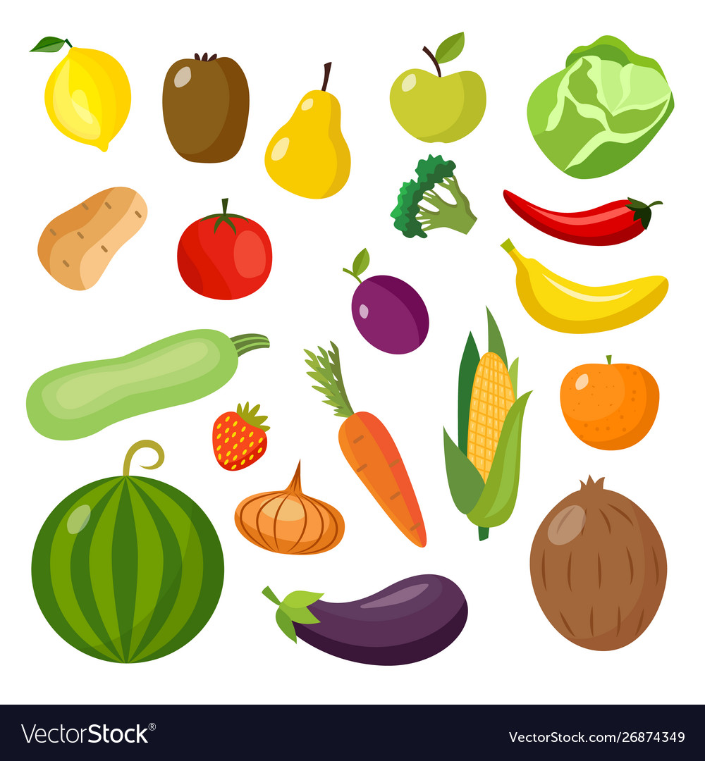 Isolated food items set - colorful fruits and