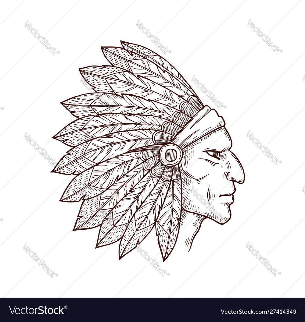 Native american indian chief with feathers on head