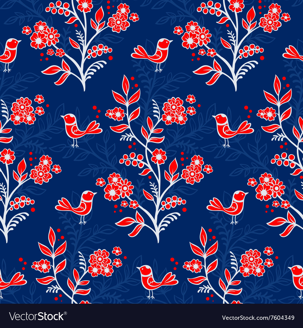 Retro floral background with flowers and birds