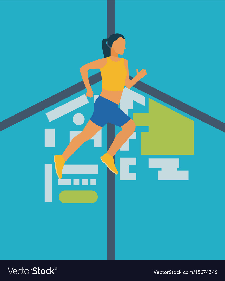 Running woman healthy lifestyle and fitness