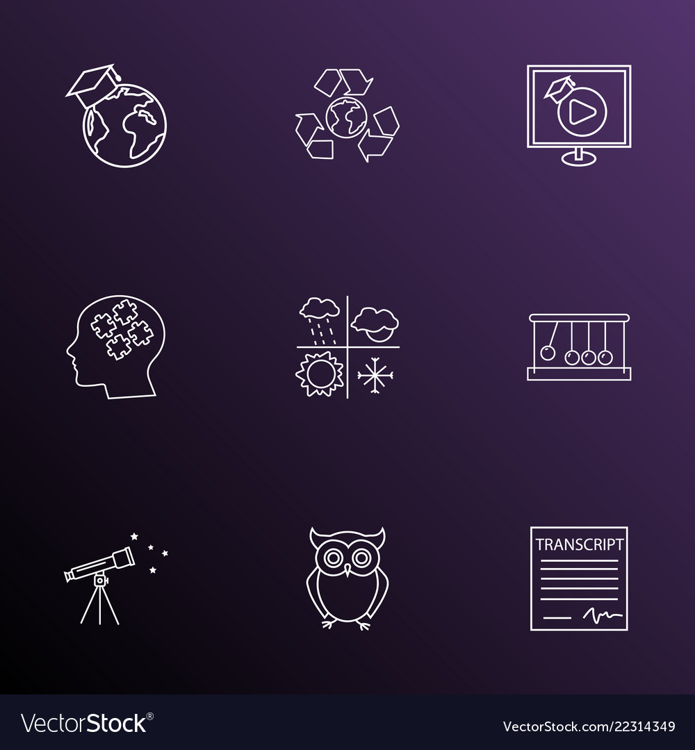 School icons line style set with video lesson