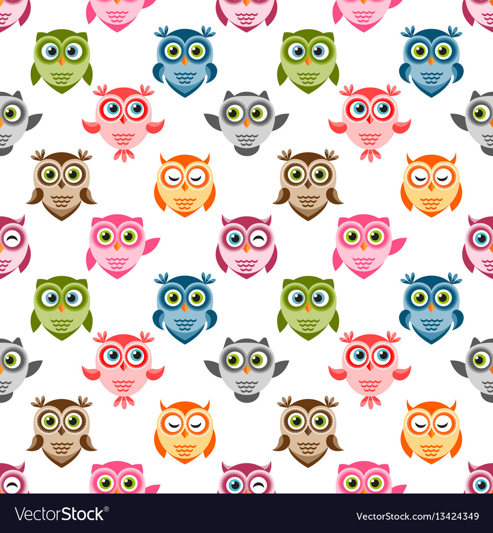 Seamless pattern with cute colorful owls and