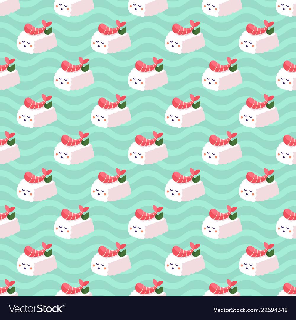Shrimp nigiri sushi seamless pattern on