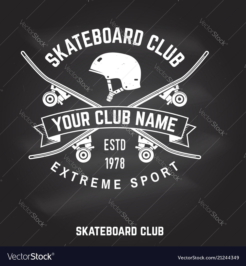 Skateboard club badge on the chalkboard