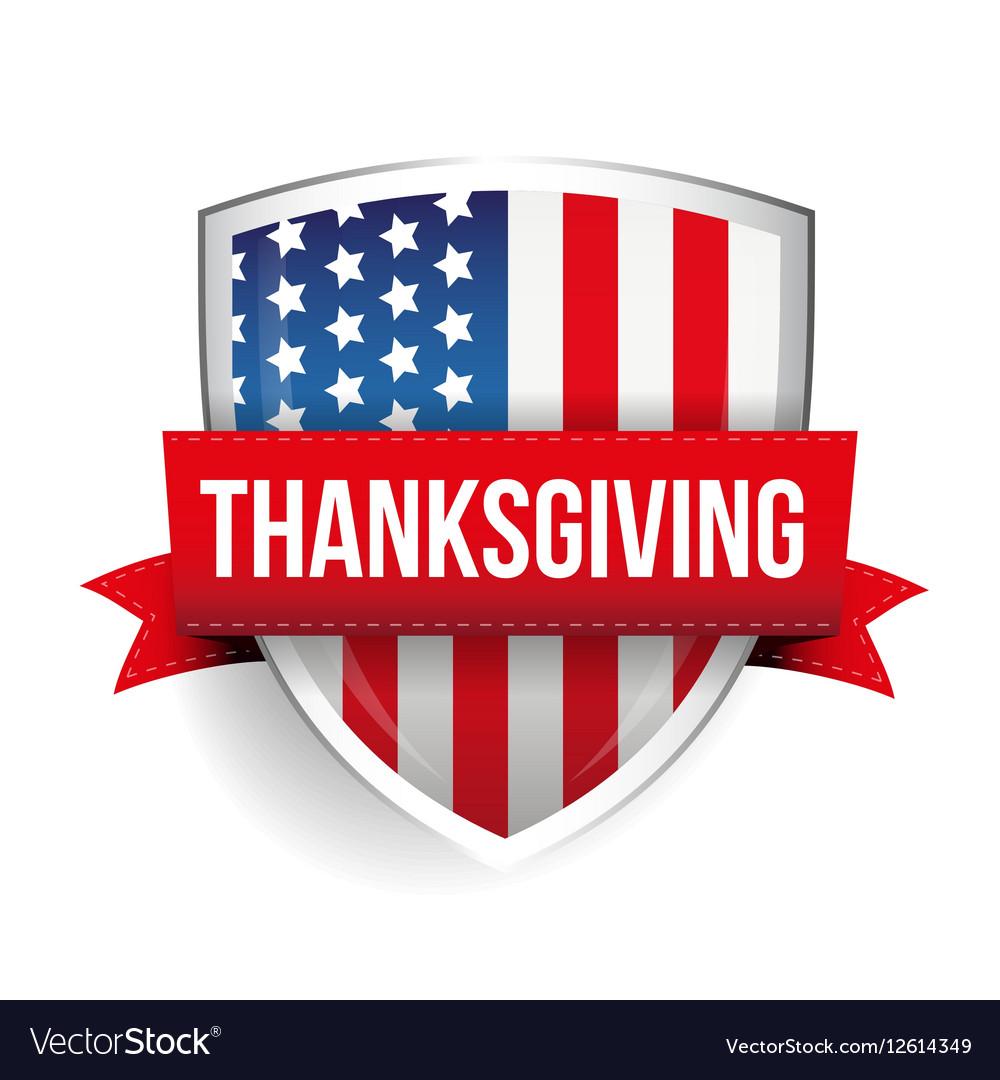 Thanksgiving on usa flag shield