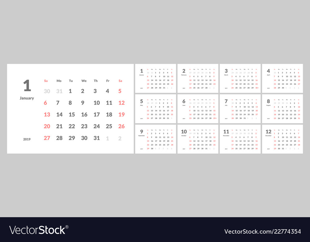 2019 new year calendar in clean minimal