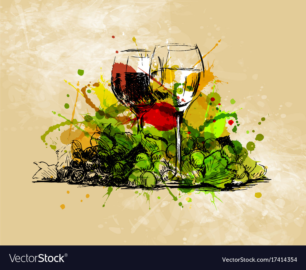 Colored hand sketch still life with glasses