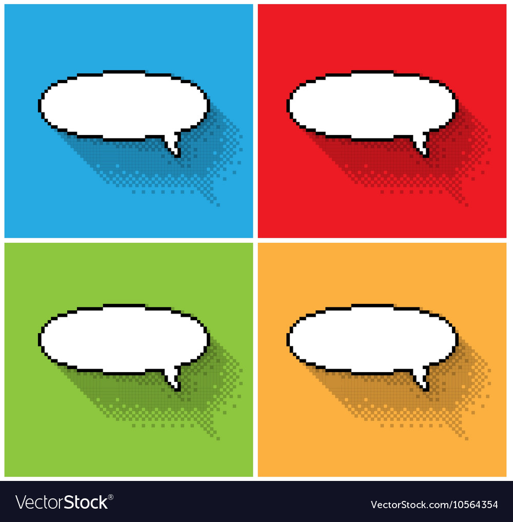 Empty pixel text bubbles vector image