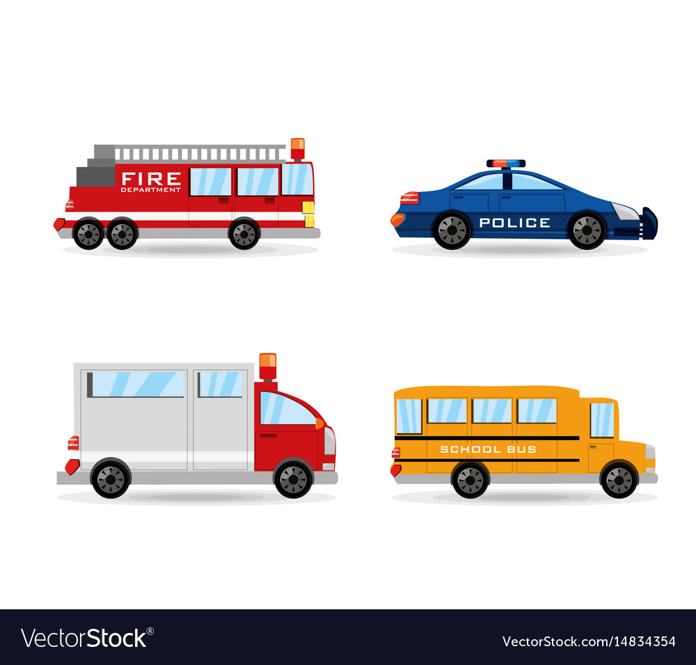 Fire truck police ambulance and bus set icon