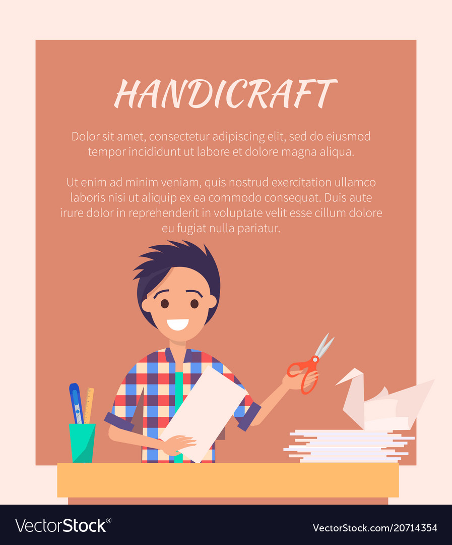 Handicraft Banner With Man Making Origami Swan Vector Image