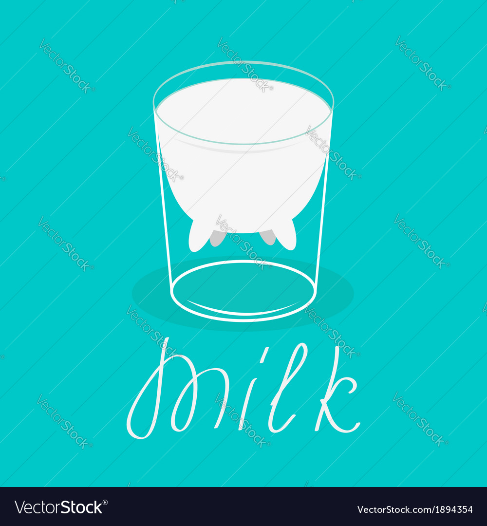 Milk glass with udder of a cow Flat design Card vector image