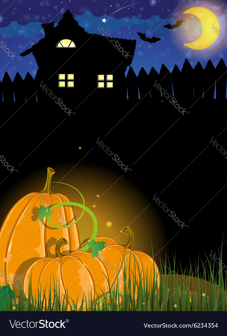 Pumpkins and haunted house vector image