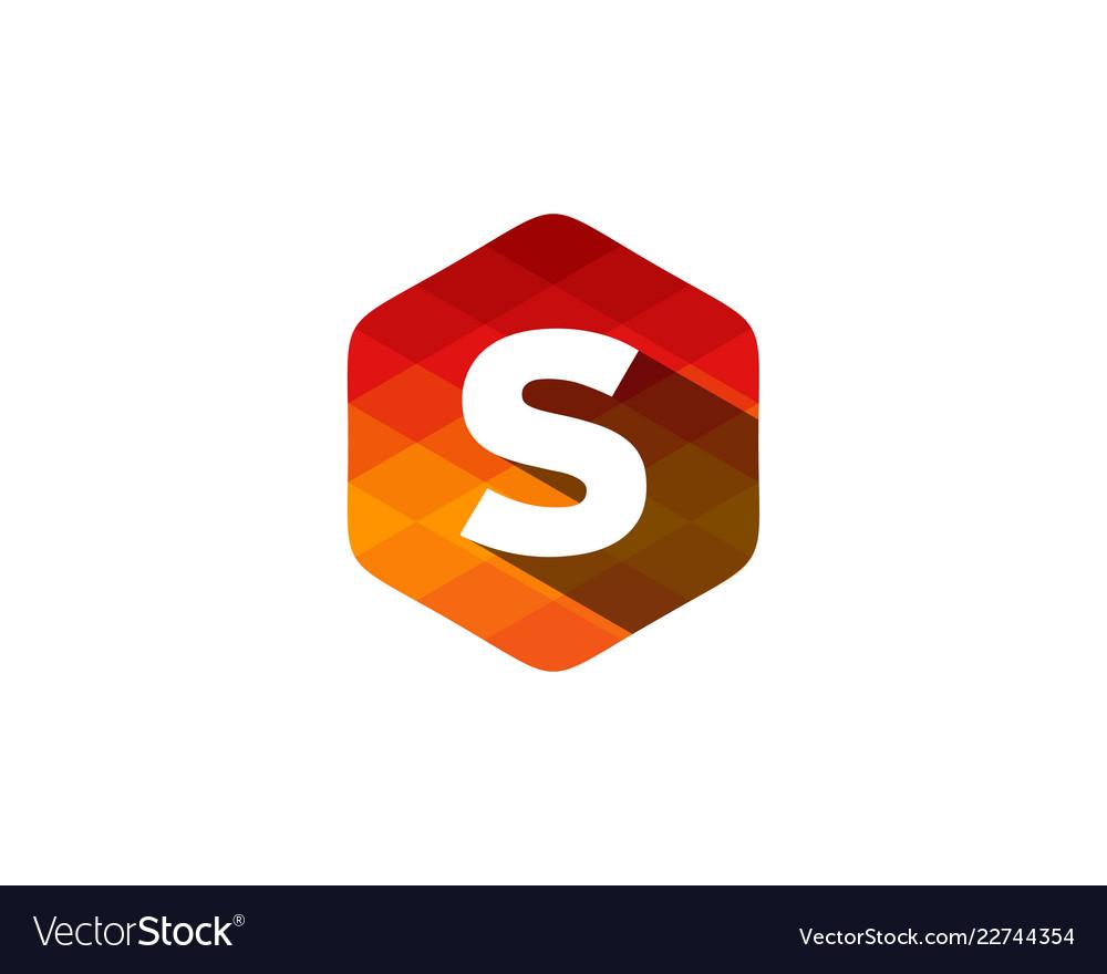 S hexagon pixel letter shadow logo icon design