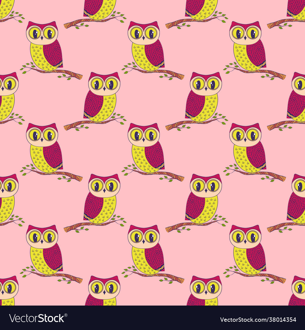 Seamless pattern with hand drawn owls
