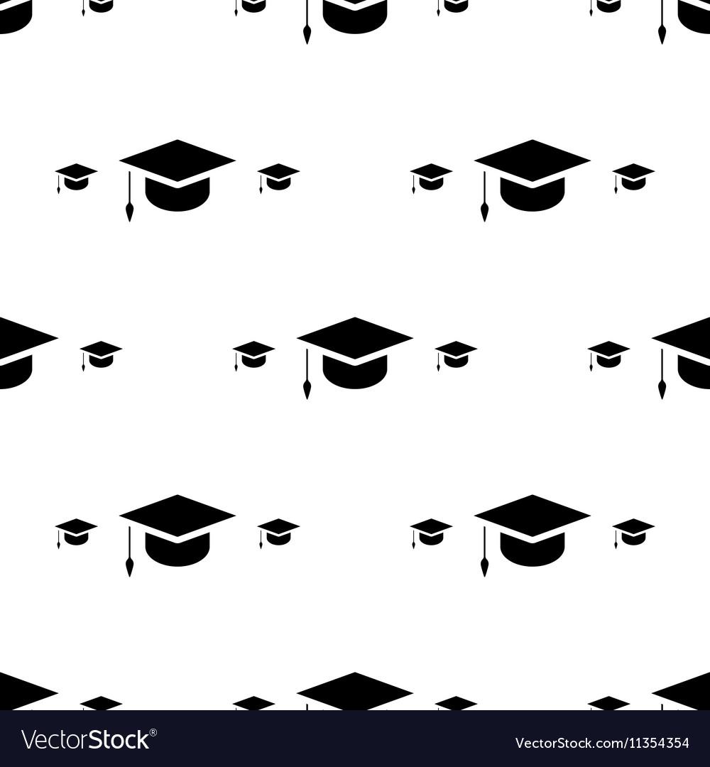 Student cap graduation hat icon seamless pattern