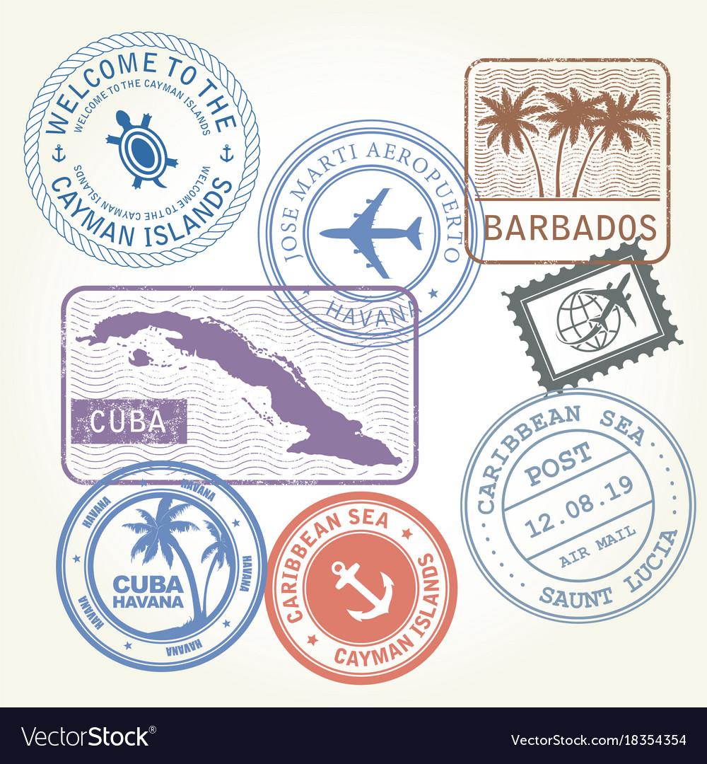 Travel stamps set caribbean sea theme