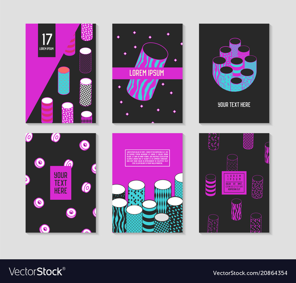 Trendy abstract posters set with cylinder shapes