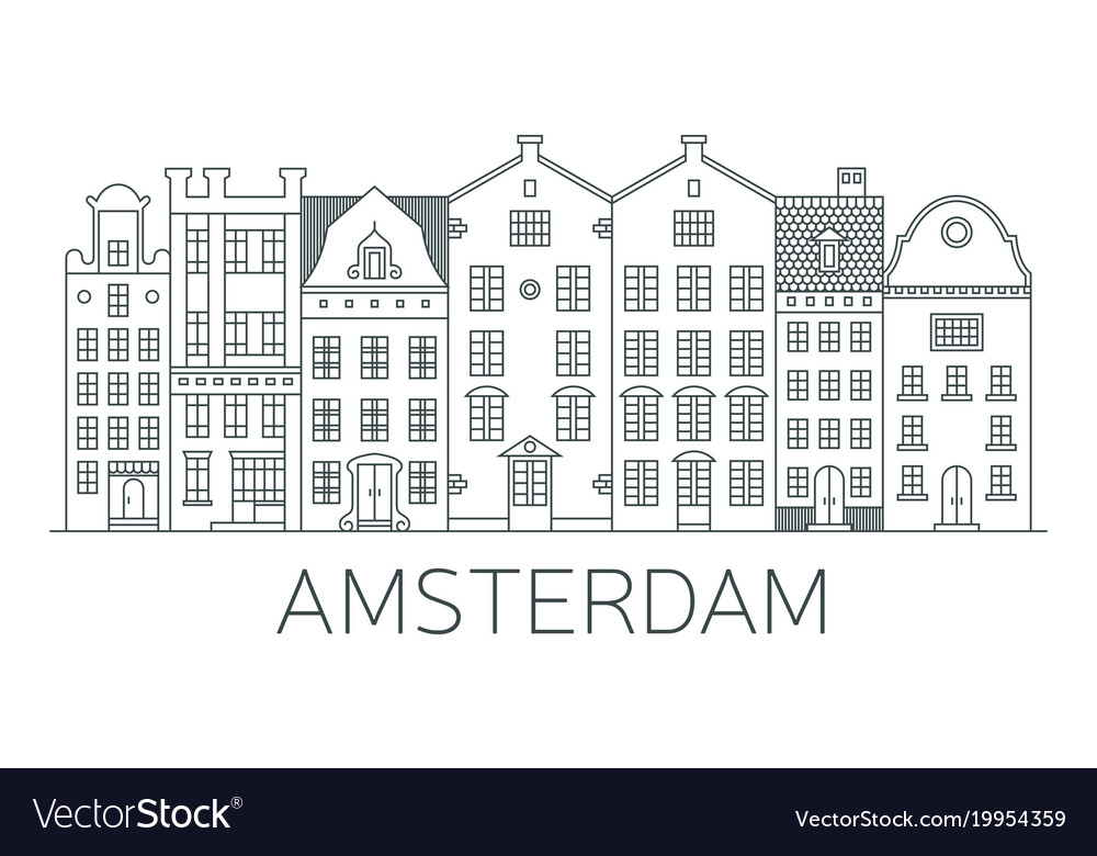 Banner of amsterdam city in flat line style
