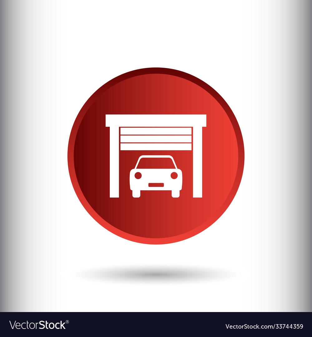Car garage icon sign icon garage symbol flat