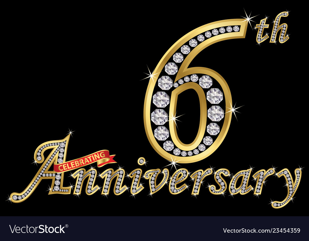 Celebrating 6th Anniversary Golden Sign Royalty Free Vector