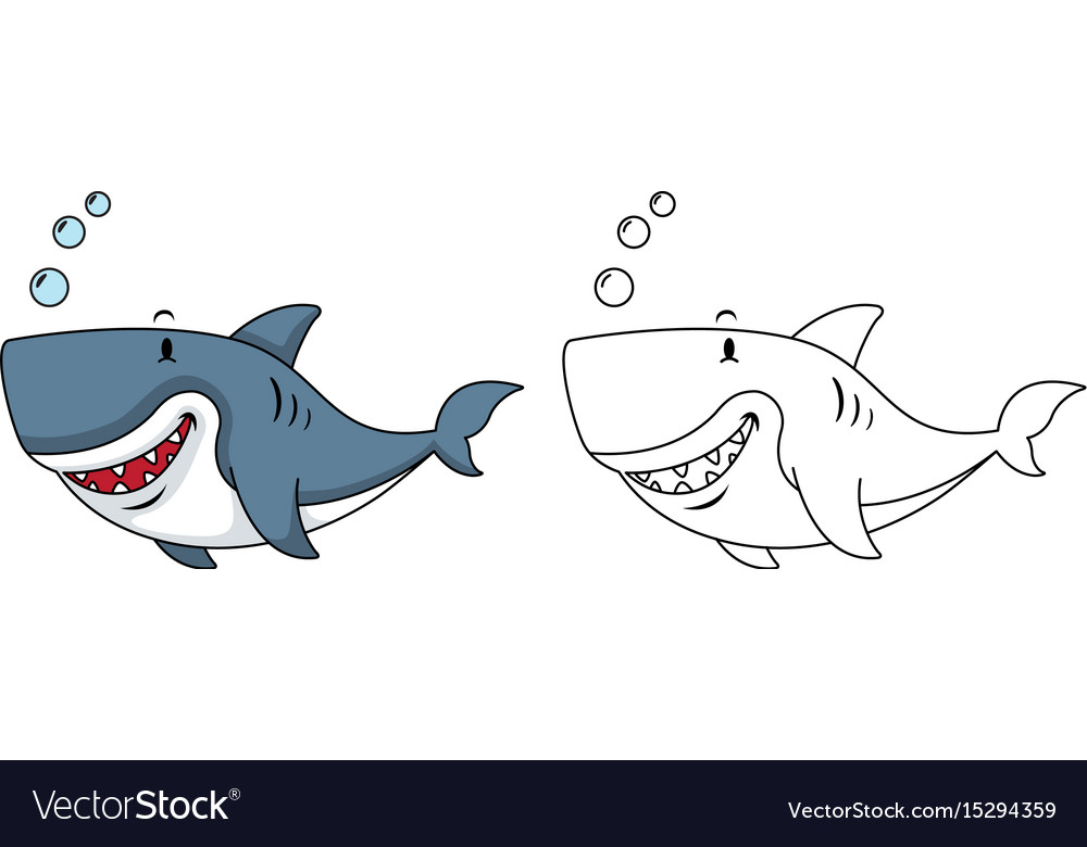 Educational coloring book-shark