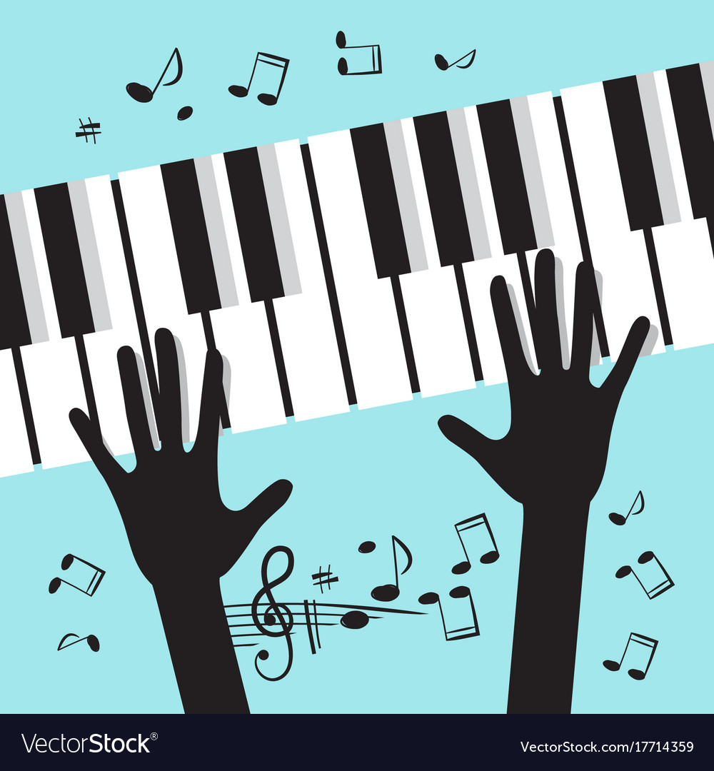 Hands playing piano with notes music blue