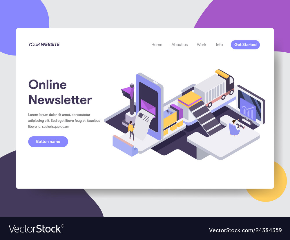 Landing page template online newsletter mobile