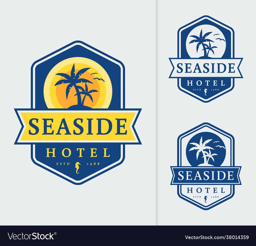 Seaside hotel logo emblems