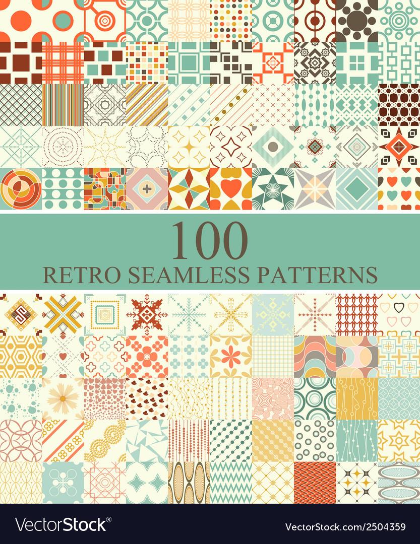 Set of 100 seamless retro vector image