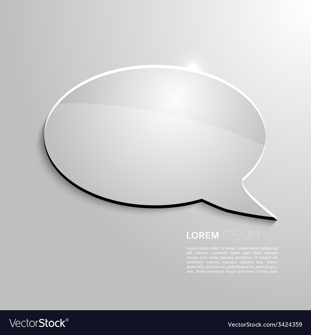 Shining speech bubble on gray background vector image