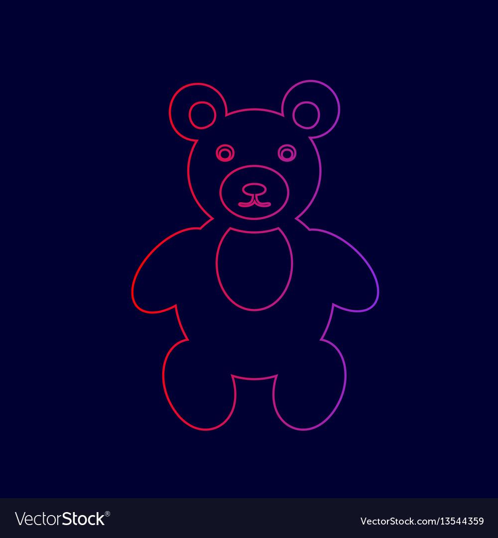 Teddy bear sign line icon vector image