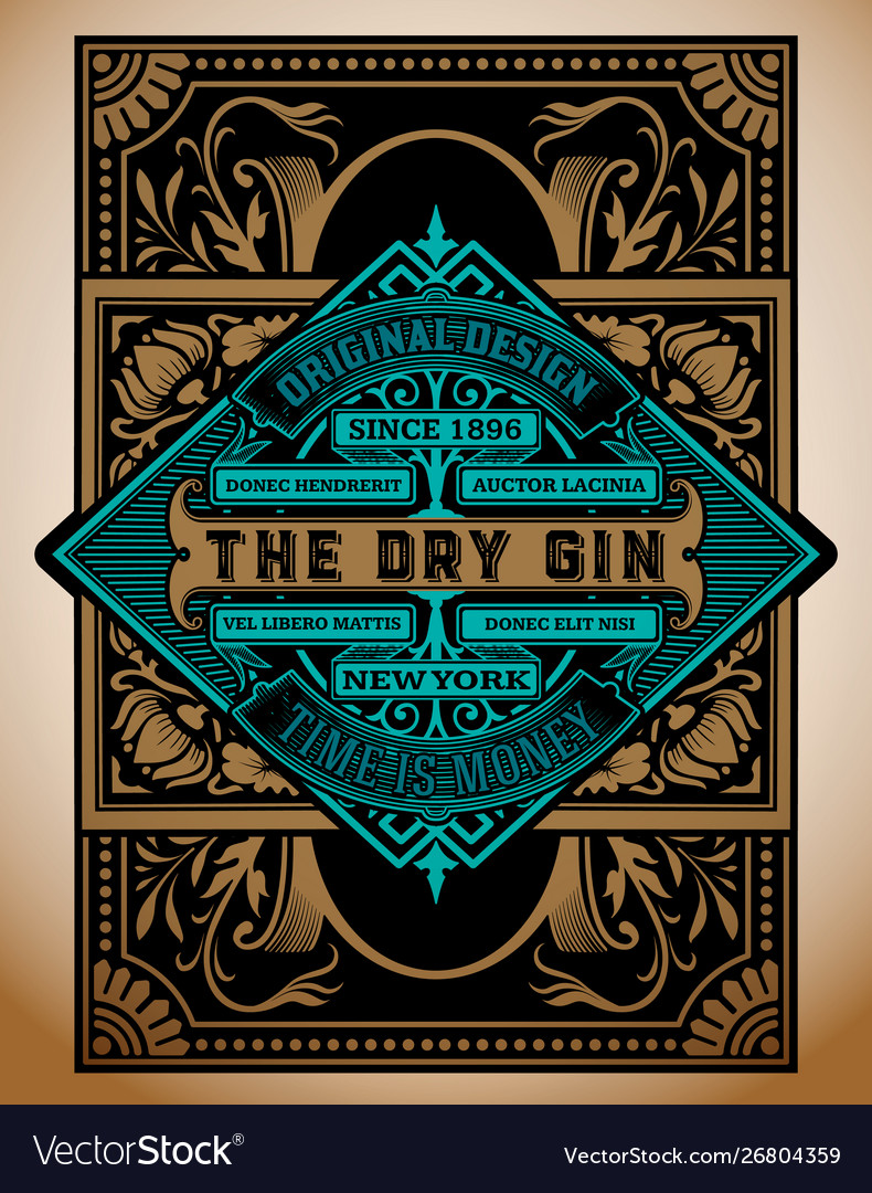 Vintage gin label template layered