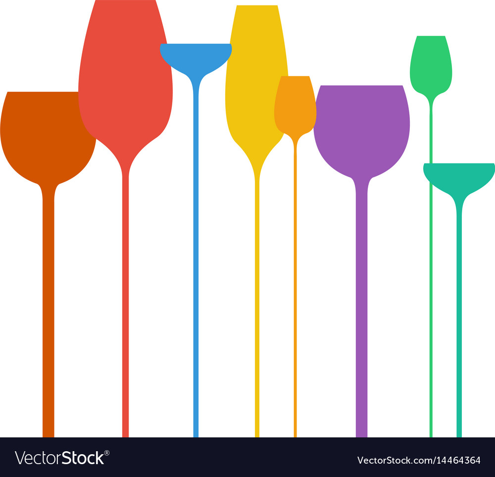 Abstract wine glasses shapes colorful