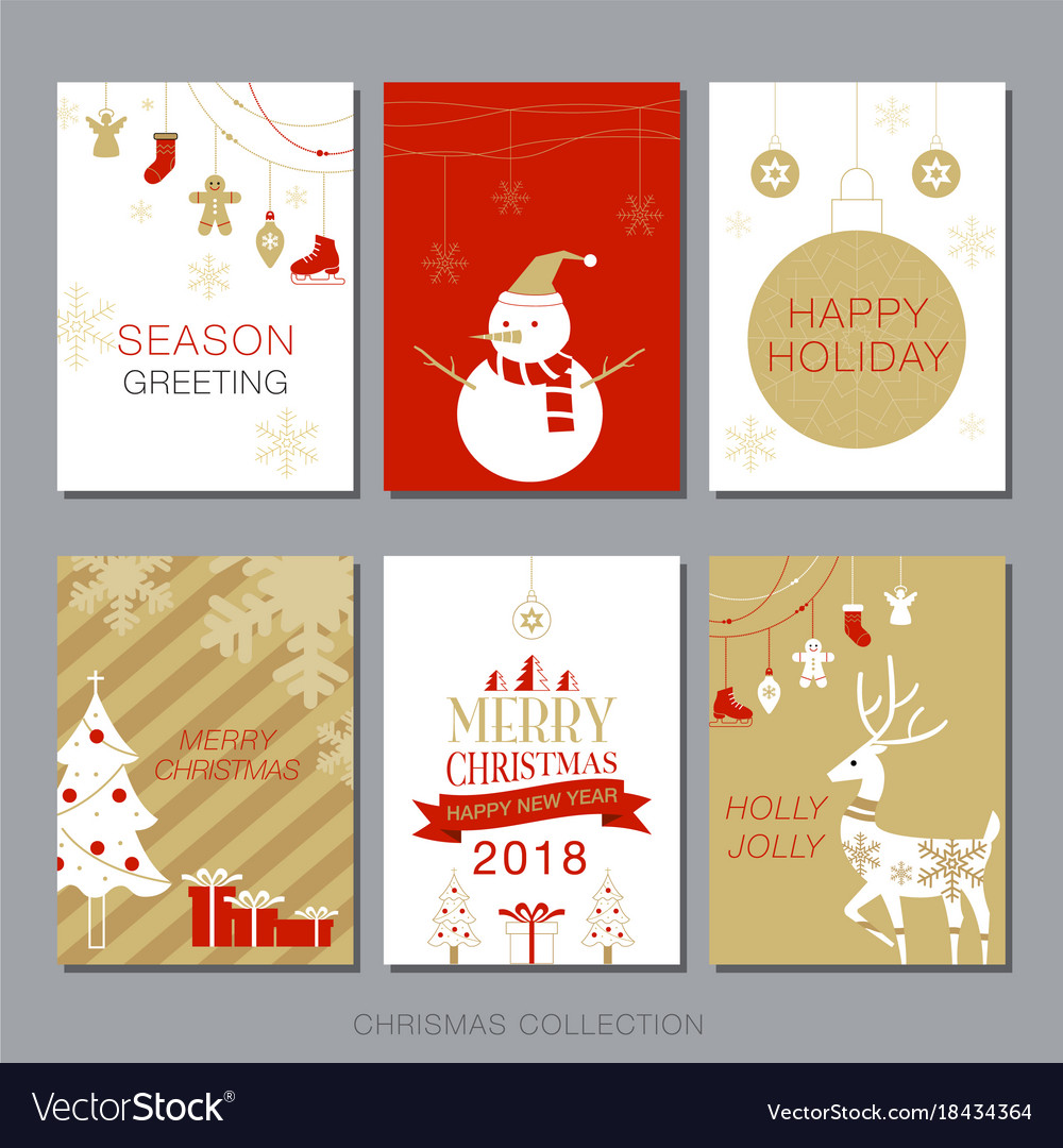 Christmas card collection set simple modern Vector Image