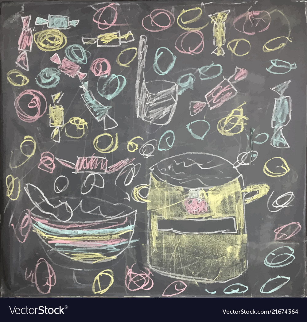 Colorful artistic drawing of chalk with lunch