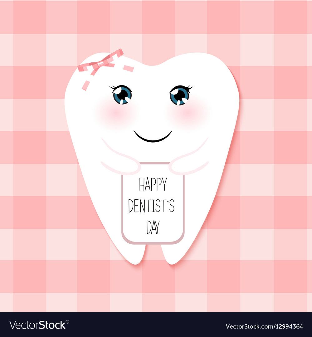 Cute Greeting Card Happy Dentist Day As Funny Vector Image