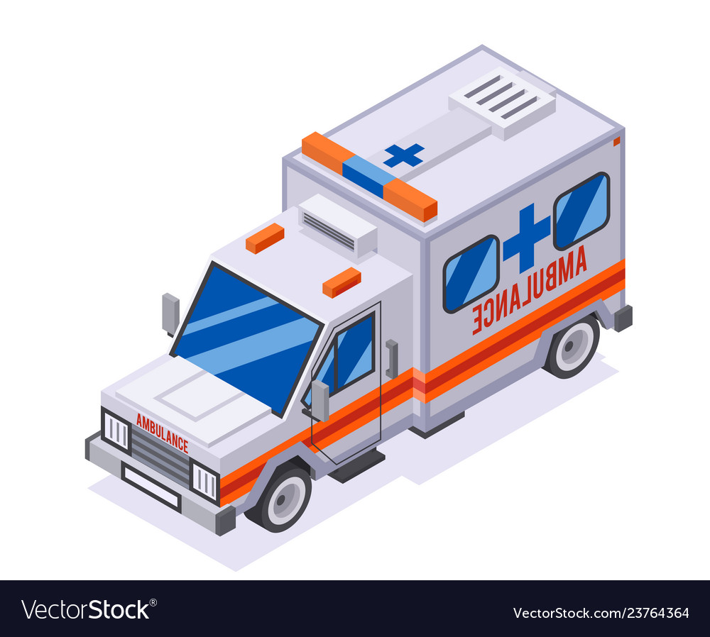 Emergency ambulance car isometric automobile van