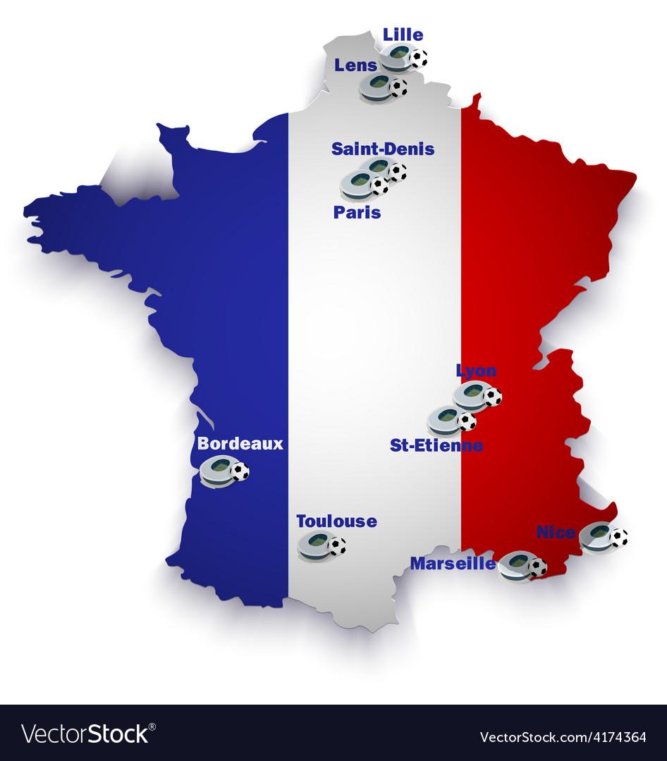 France soccer stadium map vector image