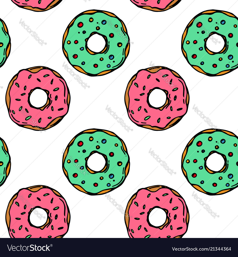 Hand drawn colorful donut seamless pattern