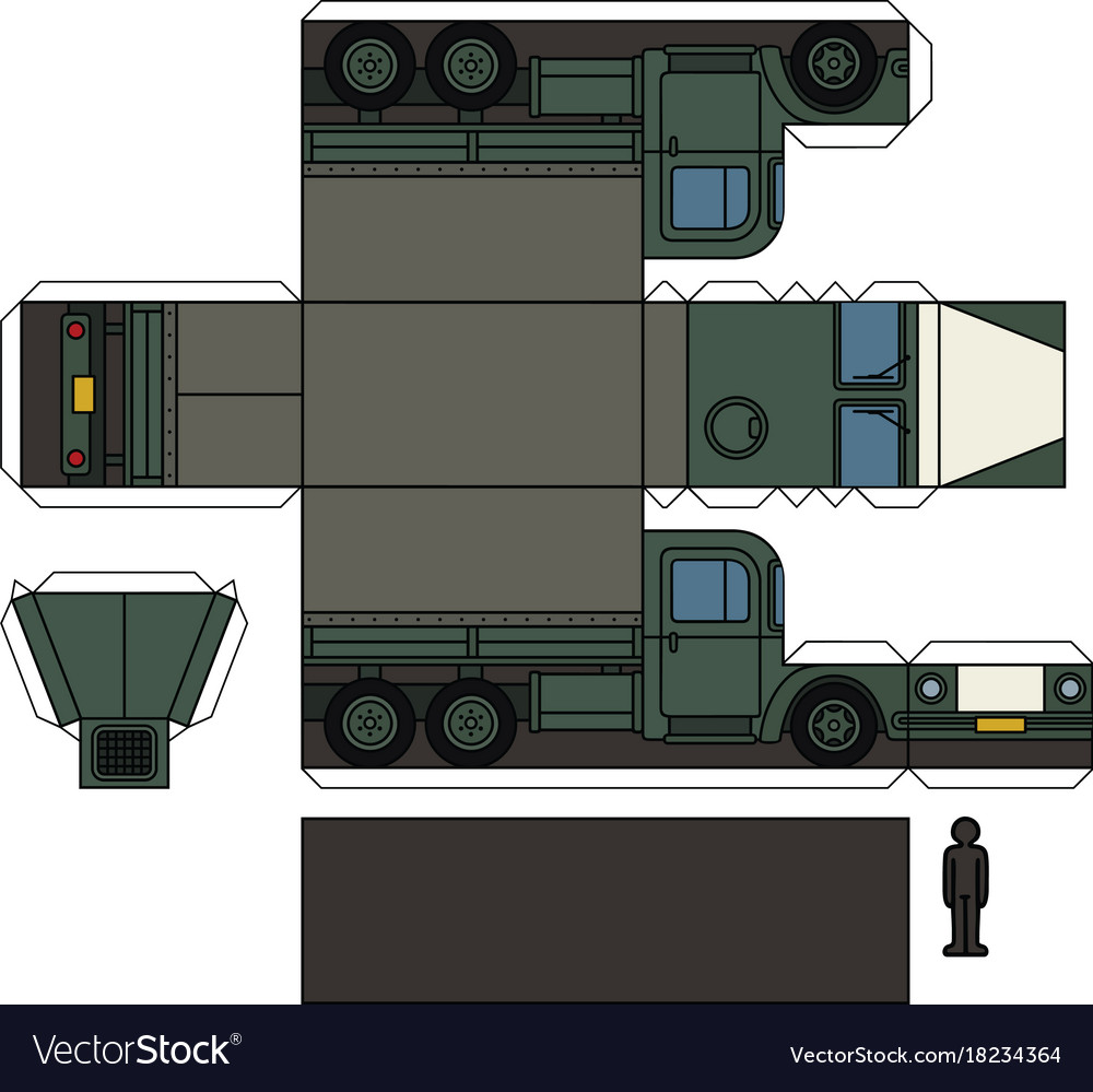 Paper Model Of An Old Military Truck Royalty Free Vector