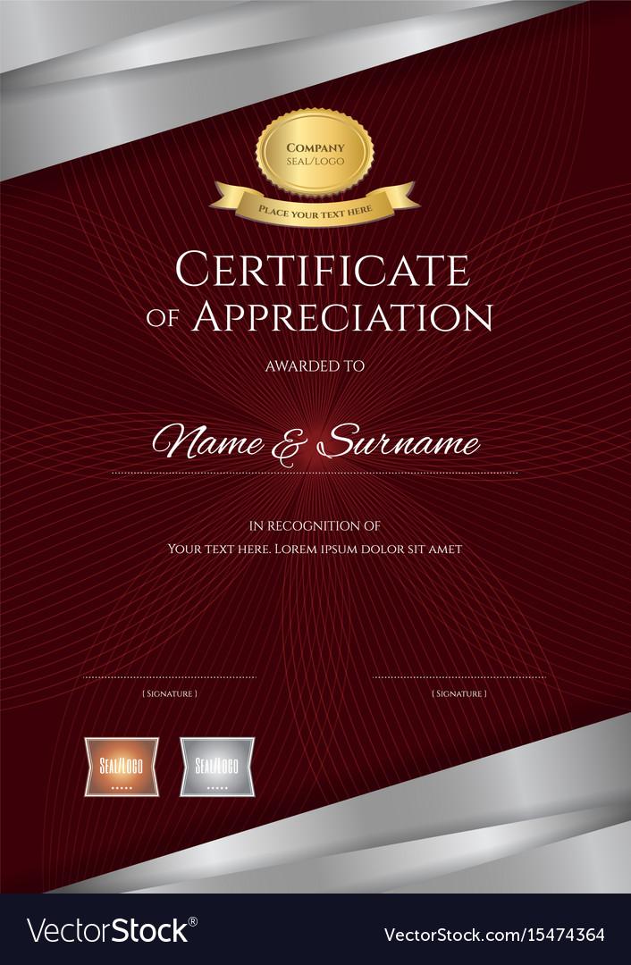portrait luxury certificate template with elegant vector image